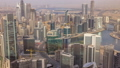 Panoramic aerial view of business bay towers in Dubai at evening timelapse. 55919114