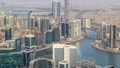 Panoramic aerial view of business bay towers in Dubai at evening timelapse. 55919116