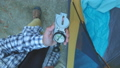 Close up on compass instrument in gloved hand . Mountain hiking trails. Winter mountain trip concept 56640581