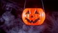 Halloween moving pumpkin lantern with smoke 56701439