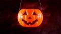 Halloween moving pumpkin lantern with smoke 56701440