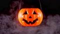 Halloween moving pumpkin lantern with smoke 56701441