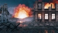 Bombed city with burning building ruins at night 56716360
