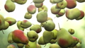 Super slow motion: falling pear against green background. High quality FullHD seamless loopable CG 56738424