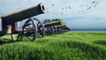 Medieval cannons in the field, in the middle of green grass on a cloudy day, before the battle. 56796101
