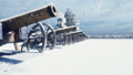 Cannons are on a winter field in the snow on a cloudy day, before the battle. Falling snow. Cannons 56810663