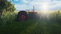 An old tractor stands near a corn field early in the morning. Agriculture and environment. 56824566