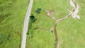 Top down drone shot of rural road with nobody on it 56885573