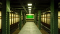 Flying the camera through a mystical deserted subway to a poster with a green screen. Post 56910259