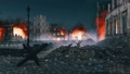 Street barricade in ruined after war city at night 56912113