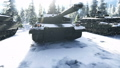 Military tanks clear Sunny winter day on the battlefield preparing to attack. 56949235