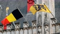 Flag of Flanders and Belgium flag on old building 57013688