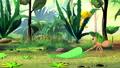 Ant carries a green leaf  57470242