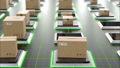 Modern Automated Hi-tech Warehouse with Parcels Rising on Lifts and Digital Floor Lights Seamless 57630421