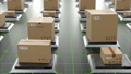 Parcels in Futuristic Hi-tech Warehouse Seamless. Beautiful Looped 3d Animation of Automated Storage 57630423