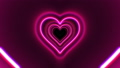 Beautiful Heart Shape Tunnel with Neon Light Lines Moving Fast Seamless. Abstract Romantic 57640378