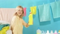 Awesome beautiful blonde woman advertising washing liquid, detergent 57783621