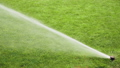 Sprinklers spraying water on the grass in football field 57783740