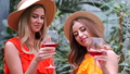 Portrait of girls in hats holding glasses of wine in botanical garden 58089487