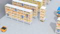 商品棚を運んでいるAMR自律型協働ロボットのアニメーション 58686020
