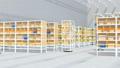 商品棚を運んでいるAMR自律型協働ロボットのアニメーション 58686021