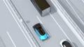 高速道路の追い越し車線に走行する電気自動車のアニメーション 58686022