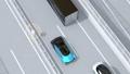 高速道路の追い越し車線に走行しながら他車と交信する電気自動車のアニメーション 58686023