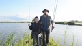 Happy smile father and son go fishing together. 58705430