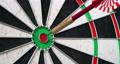 4K - Darts. Dart hits the bullseye 58827069