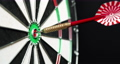 4K - Dart hits the bullseye. Side view 58827071
