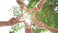 connection people concept. five peoples raise two fingers together as a star to convey the cooperation in the work. 59066084