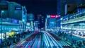 タイムラプス 新宿 新宿駅 バスタ 4k 歓楽街 ネオン 都心 夜景 東京 電車 電飾 バスタ新宿 59611297