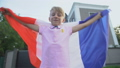 Young french football fan with flag cheering team 59857732