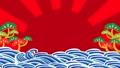 波浪和太陽大漁旗背景視頻 60038440