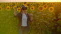 The woman is working in VR glasses in nature at sunset 60075744