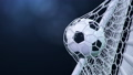 Soccer ball flies beautifully into the goal in slow motion. Soccer ball flies into the goal bending the grid on, ball rotating in slow motion. Moment of delight in football 3d FullHD animation 60333492