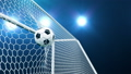 Soccer ball flies beautifully into the goal in slow motion. Soccer ball flies into the goal bending the grid on flares background, ball rotating in slow motion. Moment delight football 3d FullHD 60333497