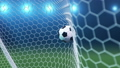 Soccer ball flies beautifully into the goal in slow motion. Soccer ball flies into the goal bending the grid on flares background, ball rotating in slow motion. Moment delight football 3d FullHD 60333499