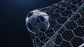 Soccer ball flies beautifully into the goal in slow motion. Soccer ball flies into the goal bending the grid on flares background, ball rotating in slow motion. Moment delight football 3d FullHD 60333501