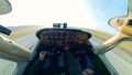 A person drives light airplane, takes off. Private Small Airplane cabin. 60381976
