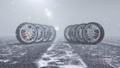 Winter tires on a background of snowstorm, snowfall and slippery winter road. Winter tires concept. Wheel replacement. Road safety concept. FullHD 3d animation with falling snow 60441094