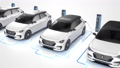 Row of modern electric self driving cars charging. Seamless loop from above. 4K 60657262