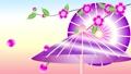 循环播放旋转伞和垂满樱花花瓣的樱花的素材插图视频 60658961