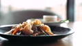Fresh greens is falling on traditional asian soba stir-fry noodles with shrimp  60674161