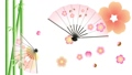 扇形舞與竹子在梅花盛開的花瓣上跳舞的插圖循環素材 60705602