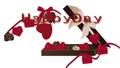 带有功能区和HappyDay循环材料的盒子中的心形巧克力 60705603