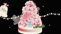 圣诞老人穿过玫瑰蛋糕和摇铃和雪的蛋糕的插图视频循环素材 60705604
