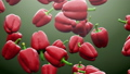 Super slow motion: falling red pepper against green background. High quality FullHD seamless loopable CG animation. 3D 60731576