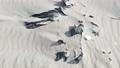 Plastic foil pollution in beach sand 60735076