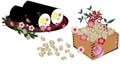 豆子和豆子在setsubun壽循環的落雪素材動畫視頻中的eho-maki上的插圖 60875468